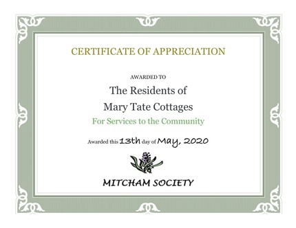 Certificate of Appreciation Mary Tate Cottages